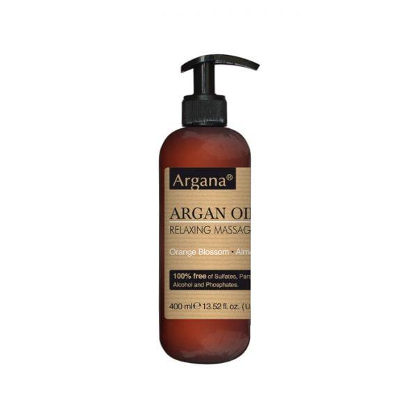 Huile de massage argana 400ml100% Sans sulfates, ni Parabènes, ni Colorants, ni Alcool, ni Phosphates.